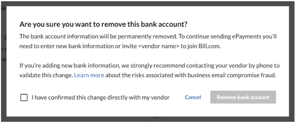 Private vendor bank remove BEC warning popup