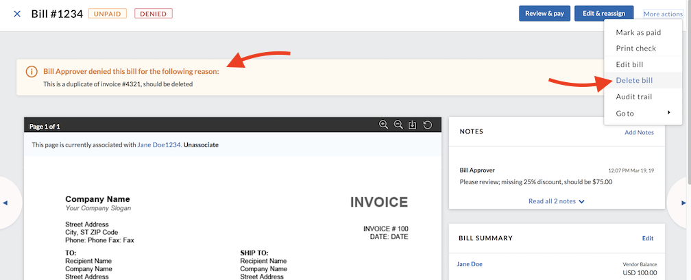 Payables - Approvals - Fixing or deleting a denied bill - Delete bill option