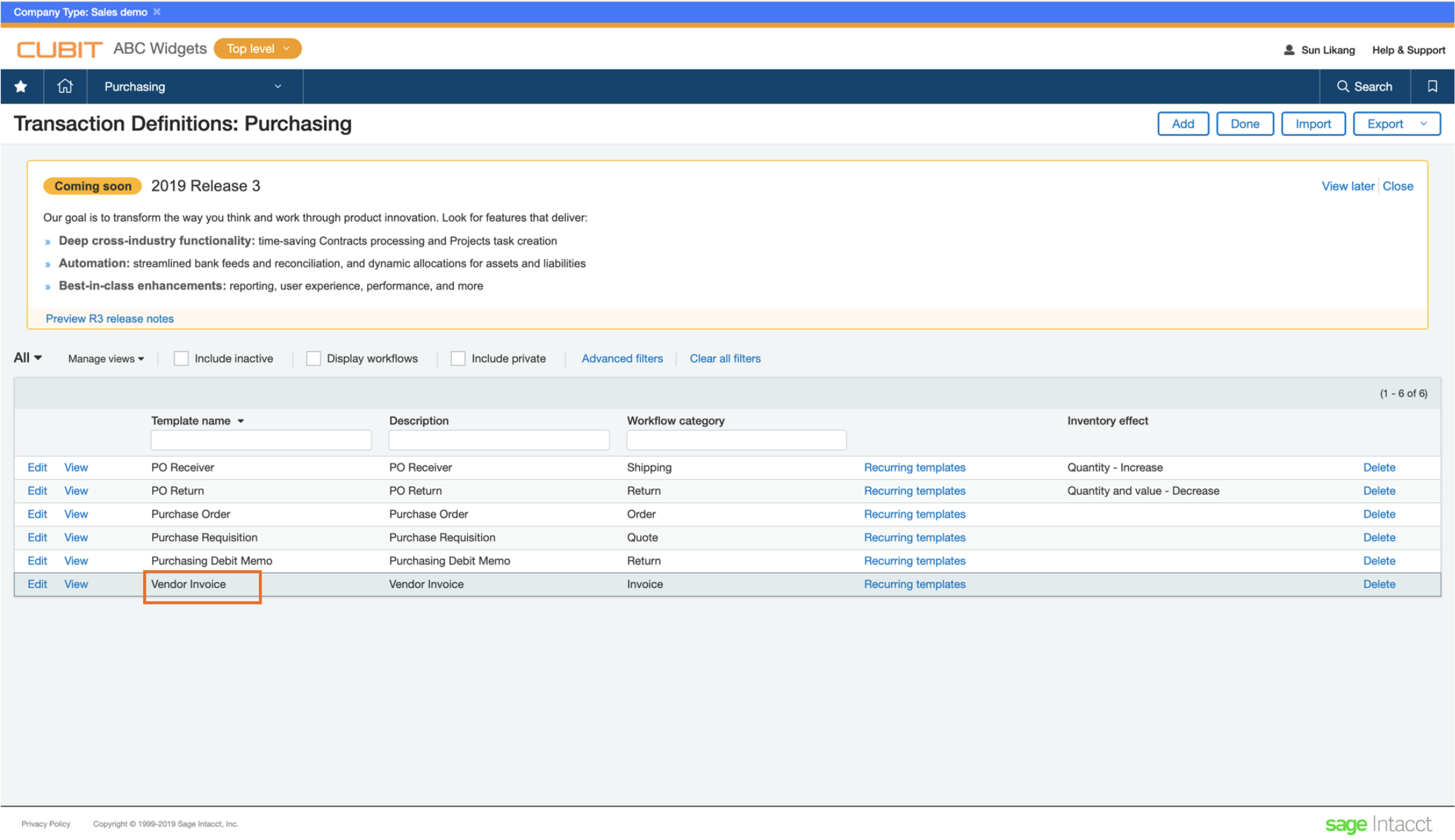 Transaction Definitions page in Intacct - VI