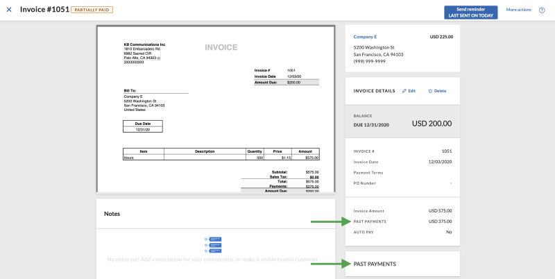 Invoice past payments Dec 2020