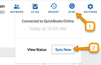 QuickBooks Online - Sync Setup - QuickBooks Online Sync Setup Guide - Sync now