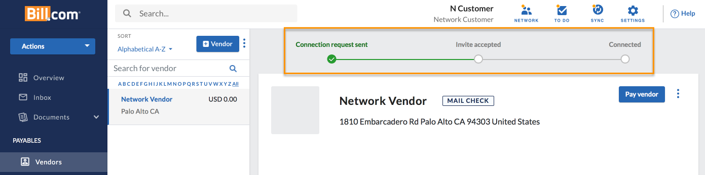 Vendor Invite tracker - connection request sent