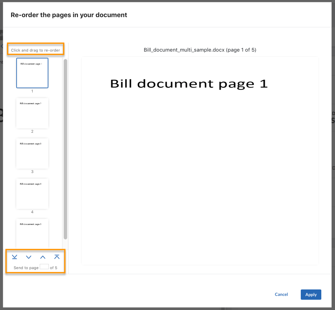 reorder bill document page details