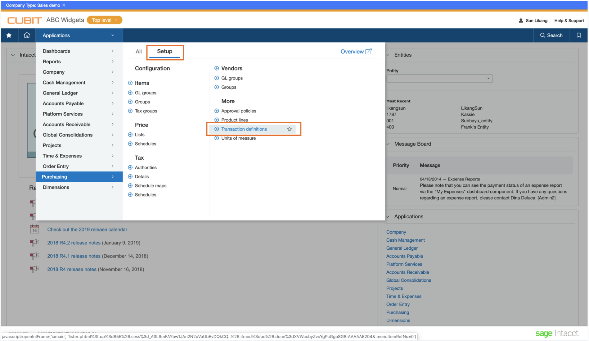 Transaction definitions link in Intacct