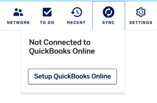 sync not connected setup prompt under sync icon