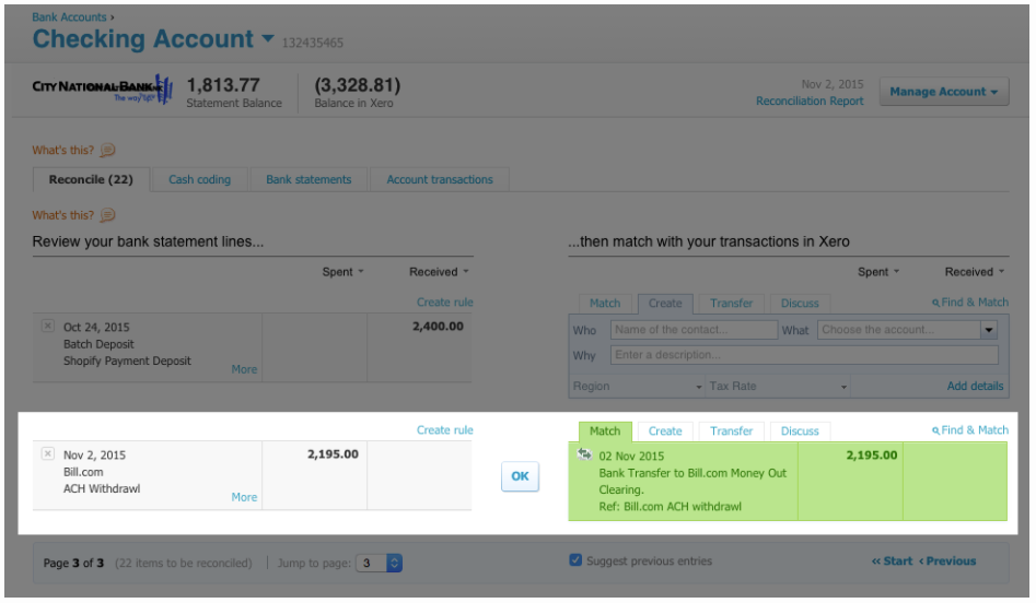 Match transaction in Xero