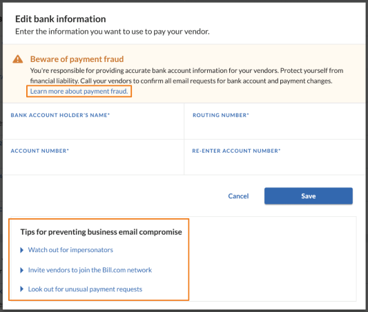 edit vendor bank
