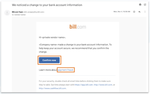 private vendor bank change - email