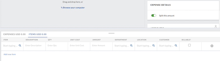 Payables - Bill Management - Enter a new bill - Adding items