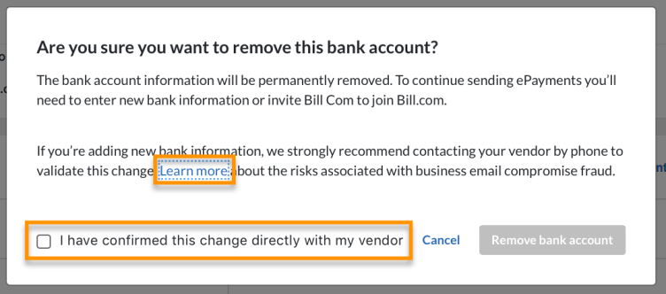 remove vendor bank BEC modal