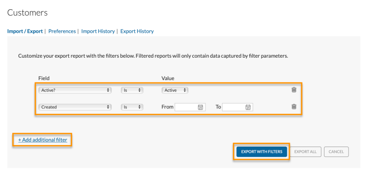 export with filters