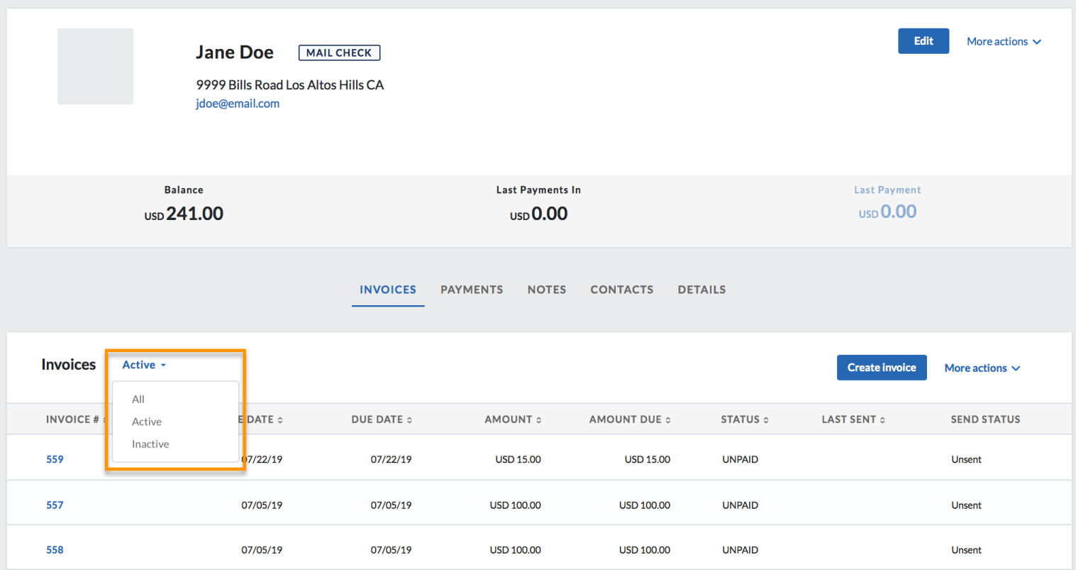 active filter invoices tab customer record