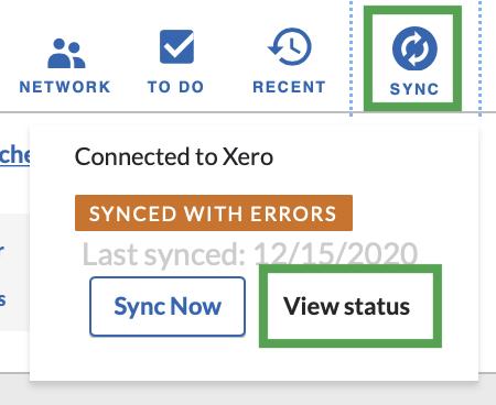 Sync Status link