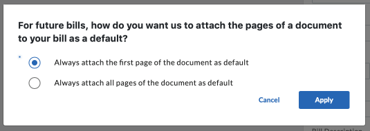 page attachment inbox preference