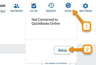 QuickBooks Online - Sync Setup - QuickBooks Online Sync Setup Guide - Sync icon - setup