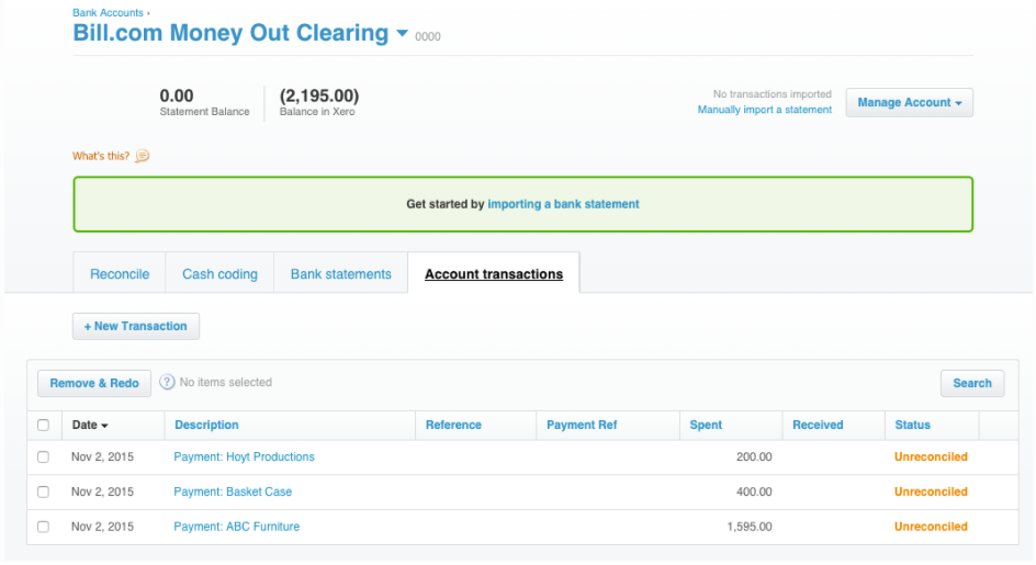 Clearing account in Xero
