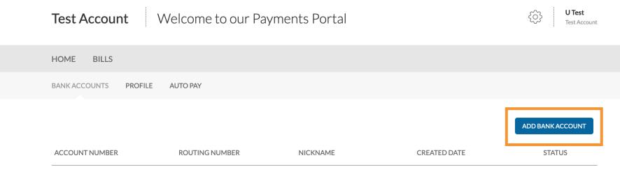 Portal - Add new bank account