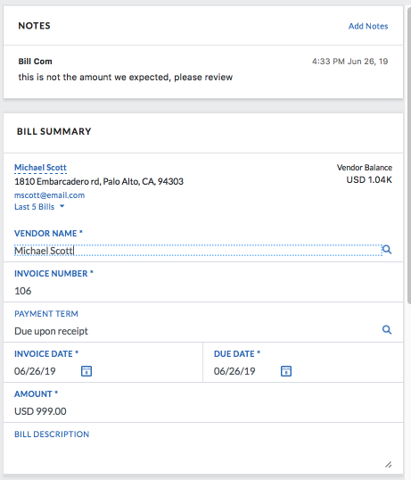 Payables - Bill Management - Enter a new bill - Bill Summary