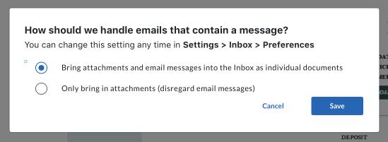 Inbox FTU preference - email body