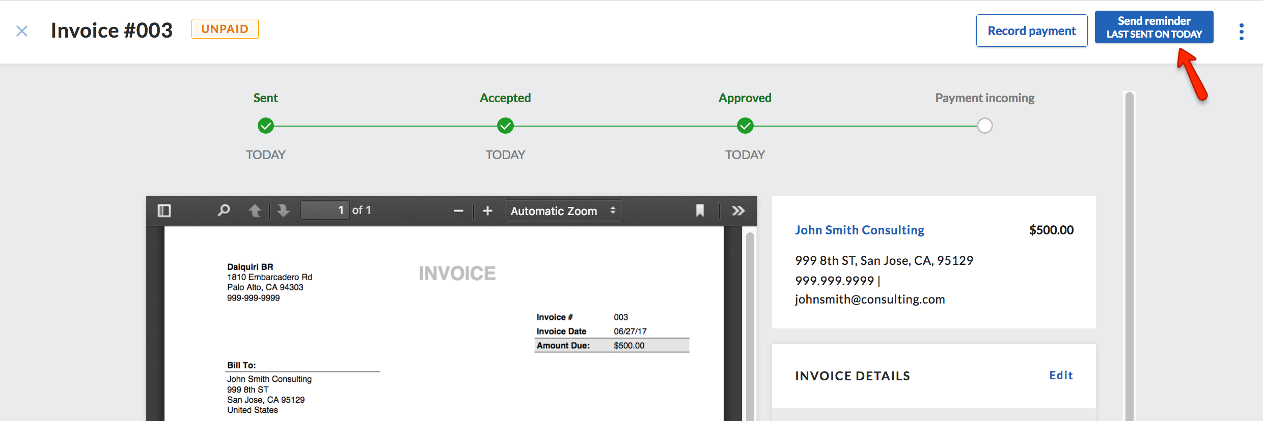 Send Reminder For Unpaid Invoice Support - Quickbooks invoice reminders