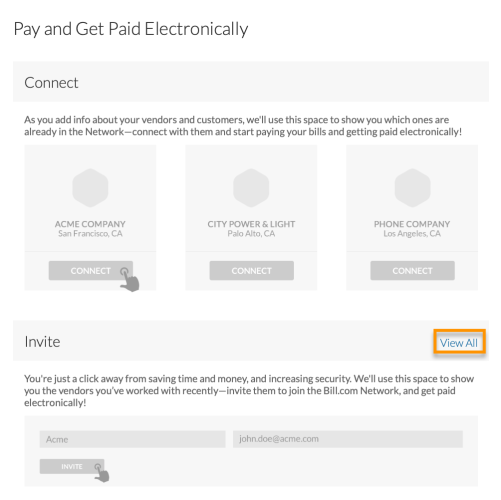 Inviting vendors to be paid electronically - bulk invite - view all