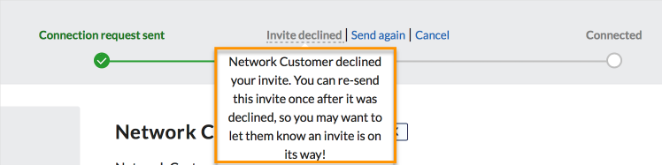 Invite tracker - declined popup
