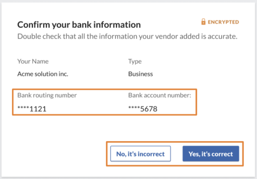 Review vendor bank add modal