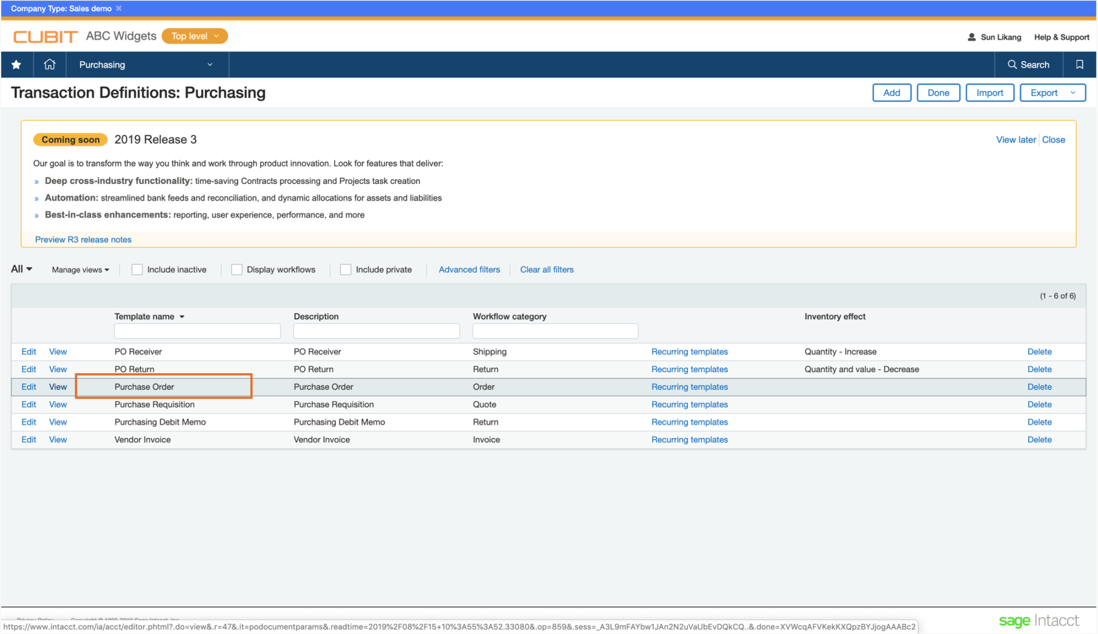 Transaction Definitions page in Intacct - PO