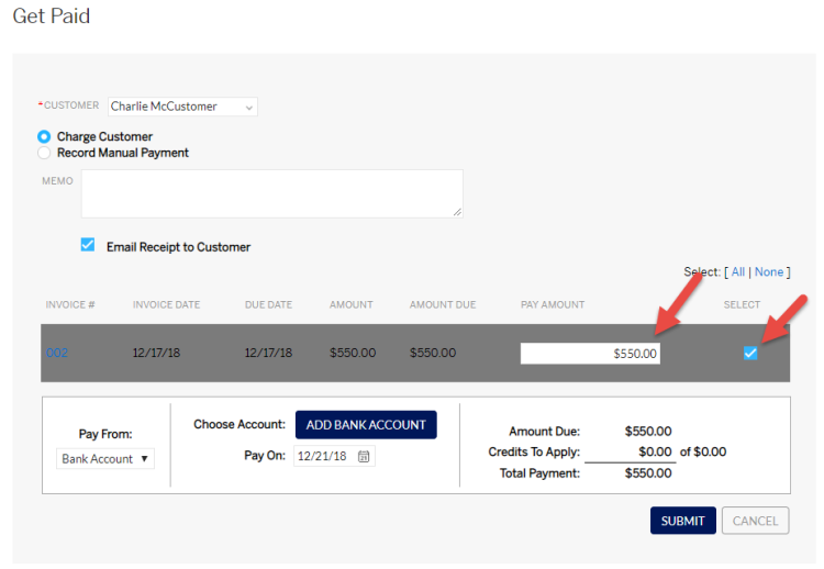 Select invoice and enter amount