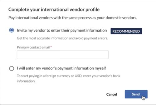 International vendor setup inline message bills page - modal