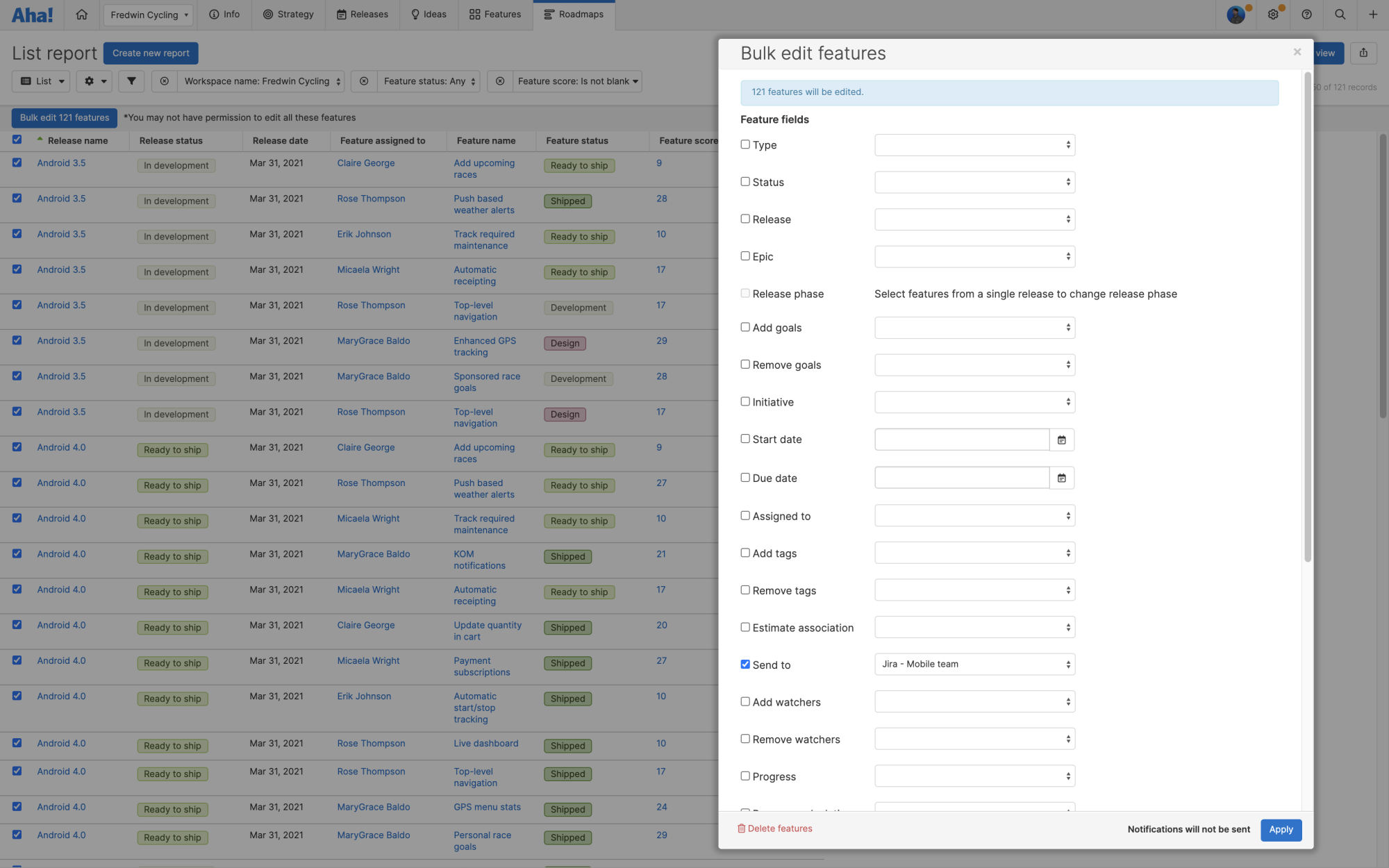 The bulk edit modal in front of a feature list report showing how to bulk send features to an integration.