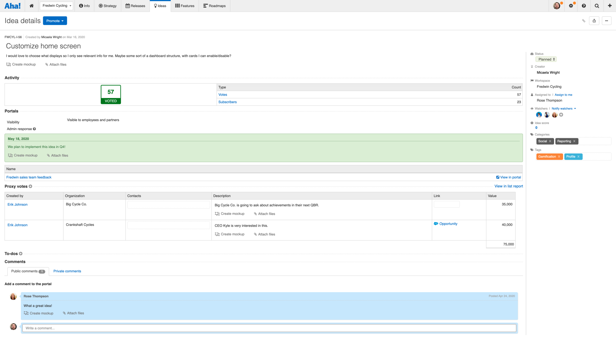 Idea detail view with proxy vote collected from Salesforce