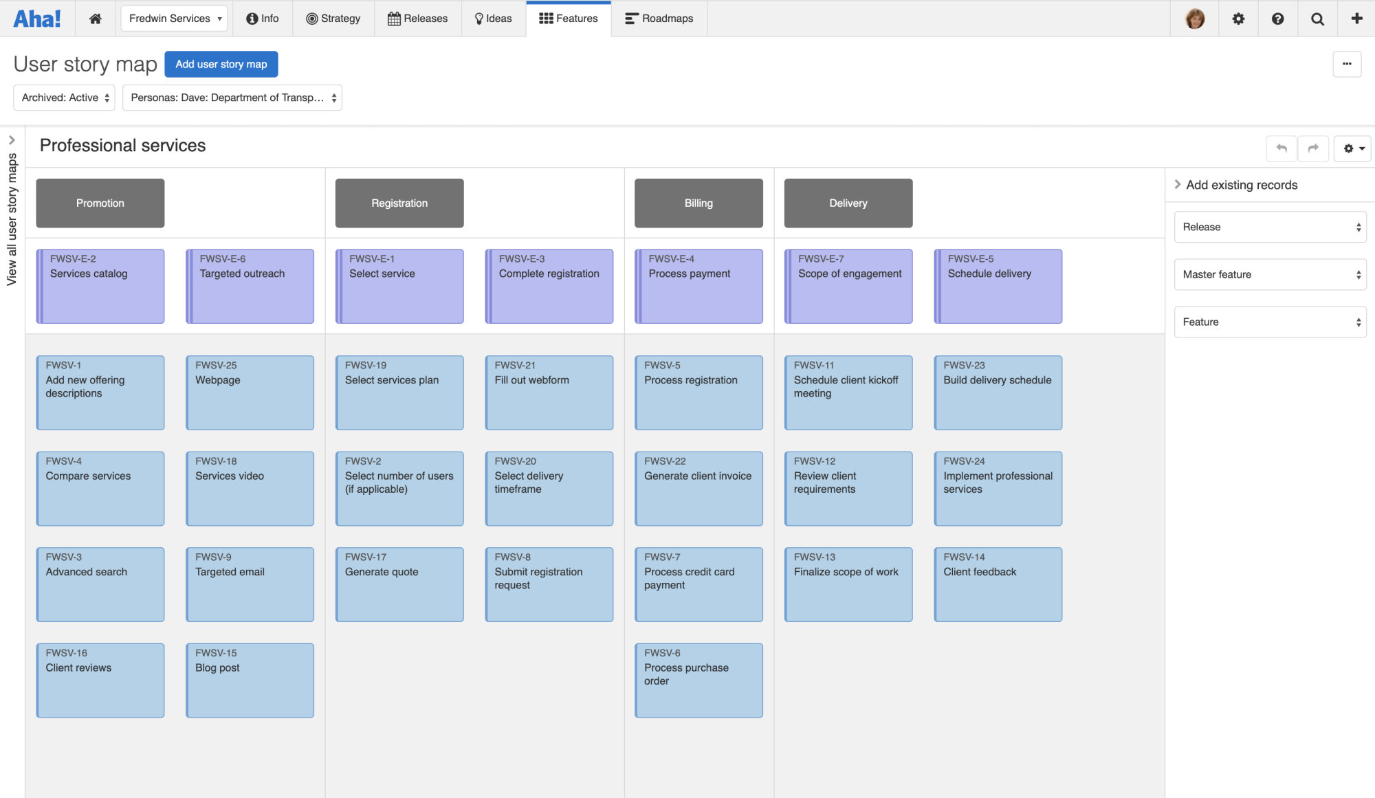 The user story map enables you to create and prioritize work based on what your customer is trying to do.