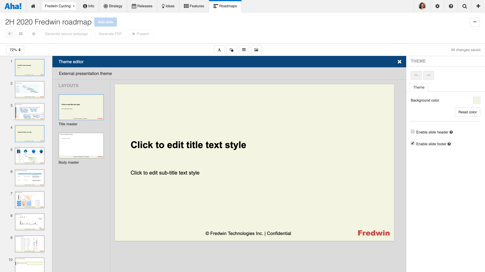 Support - Create and manage presentation themes - inline image