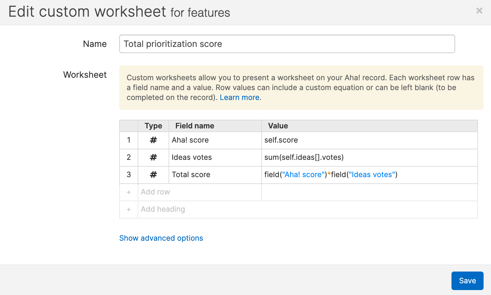 Support - Reference Aha! fields in custom worksheet equations (Enterprise+) - inline image