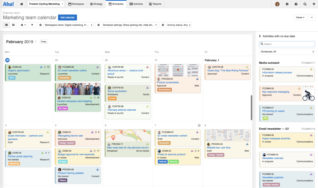 Bring your plans together and manage key dates with marketing calendars.