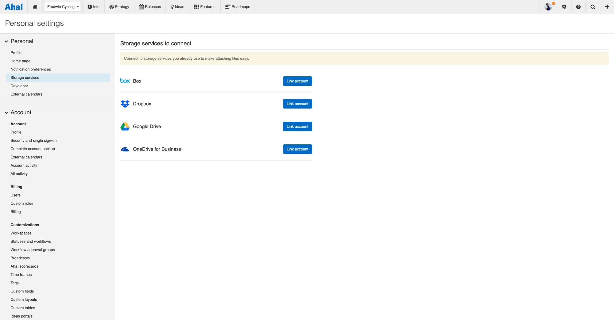 Each Aha! user will need to set up an integration with Dropbox in their personal settings.