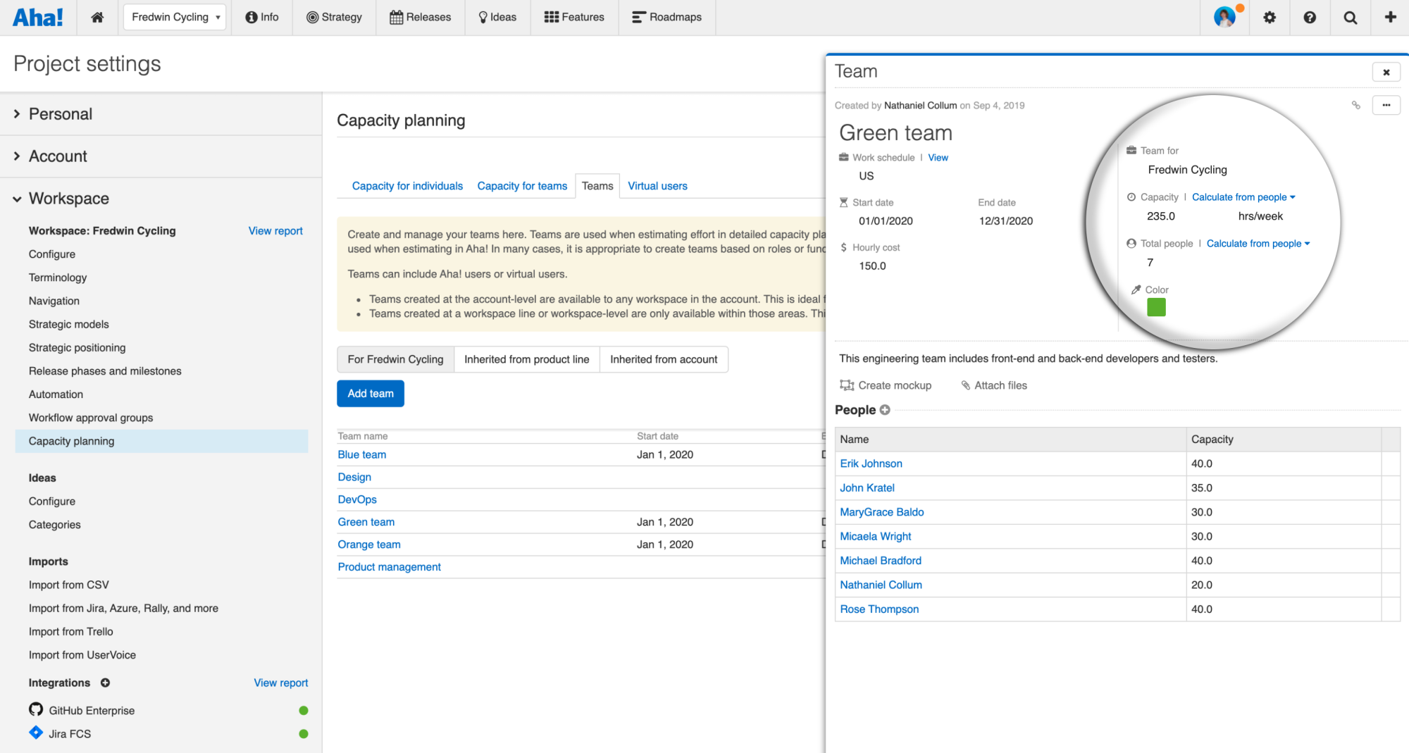 Support - Configure capacity planning for teams (Enterprise+) - inline image