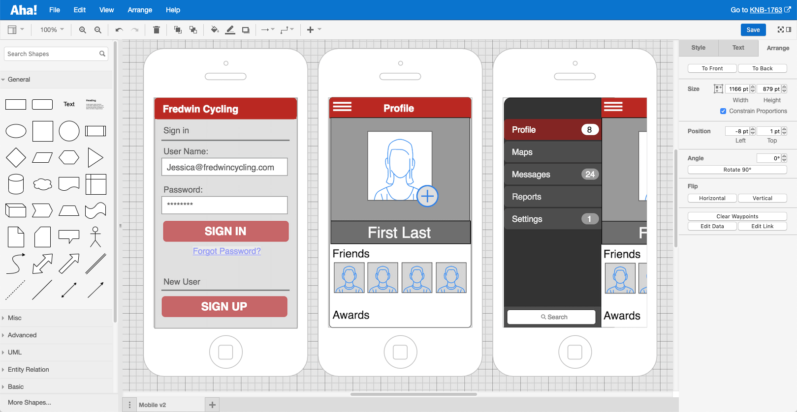 A mobile application mockup in Aha!