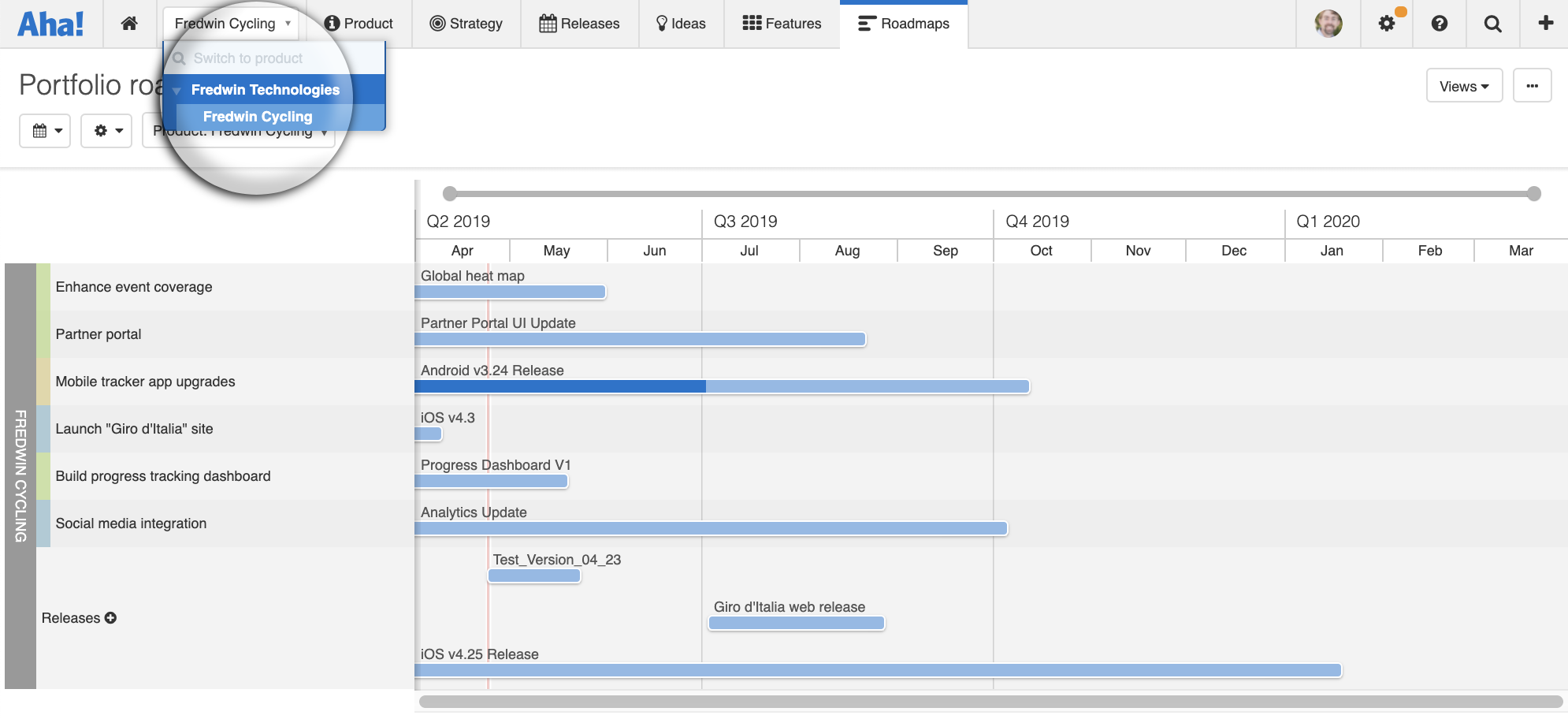 The portfolio roadmap with a single-workspace hierarchy dropdown expanded.