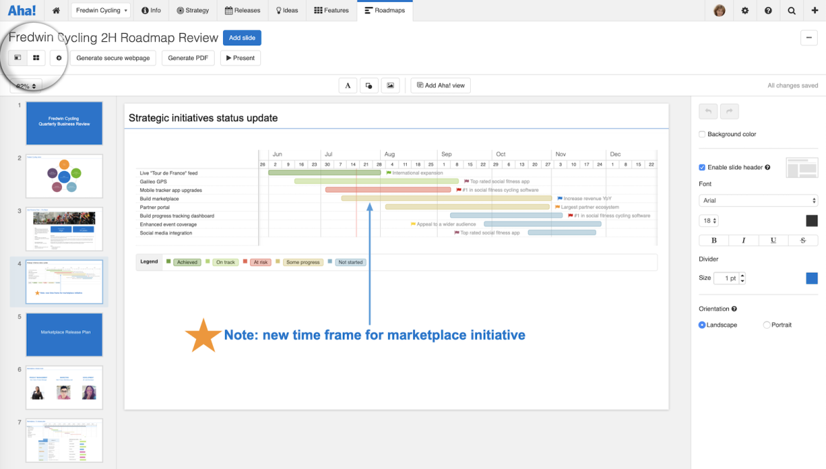 Just Launched! — Deliver Brilliant Roadmap Presentations With the New Aha! Slide Editor