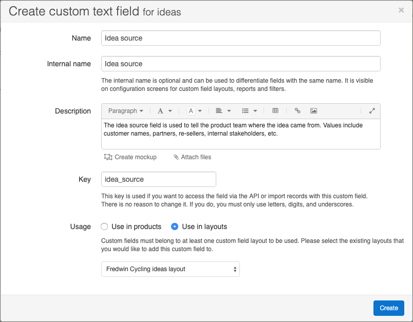Create custom field modal for an ideas custom field
