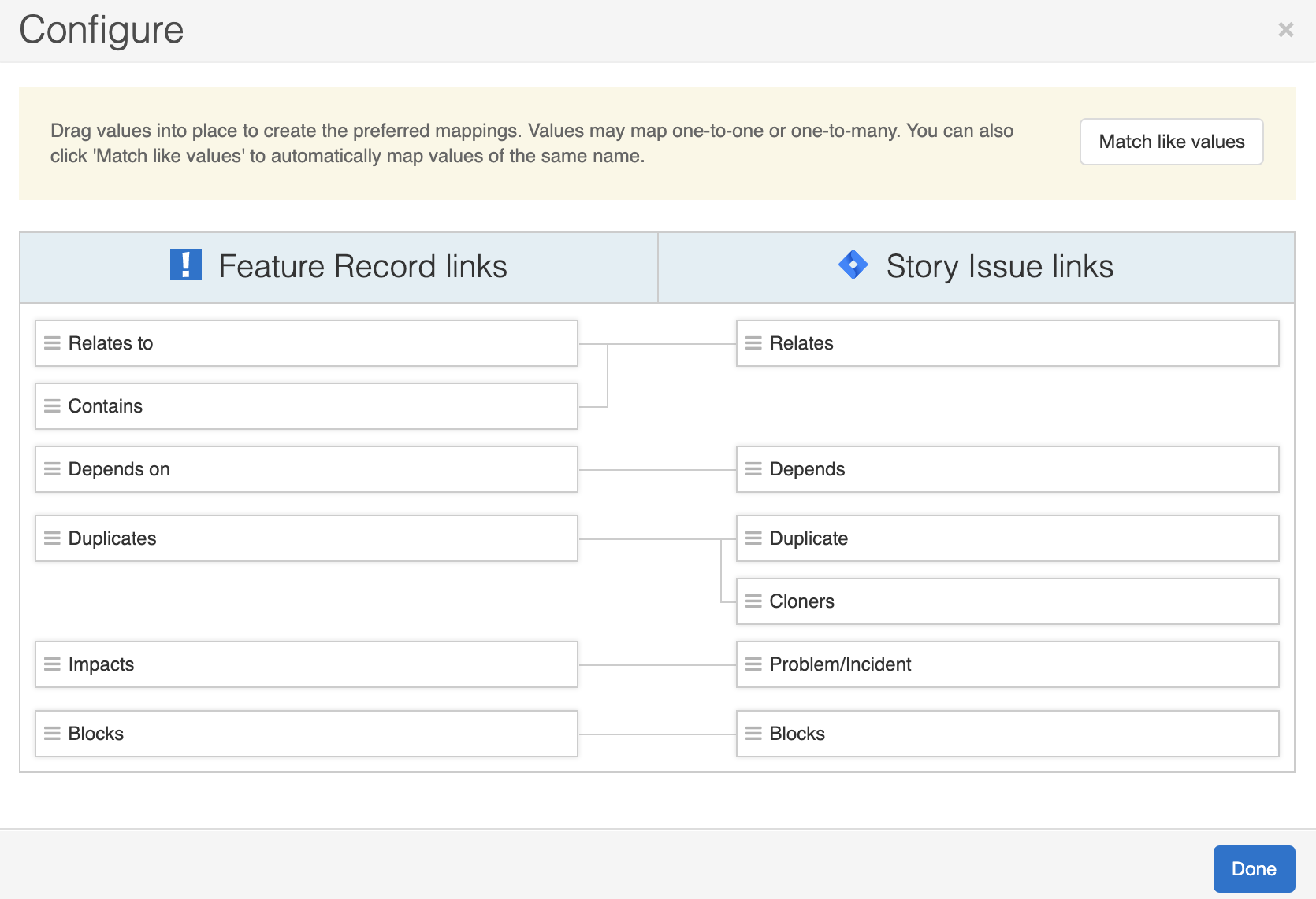 Support - Configure links between integrated records - inline image