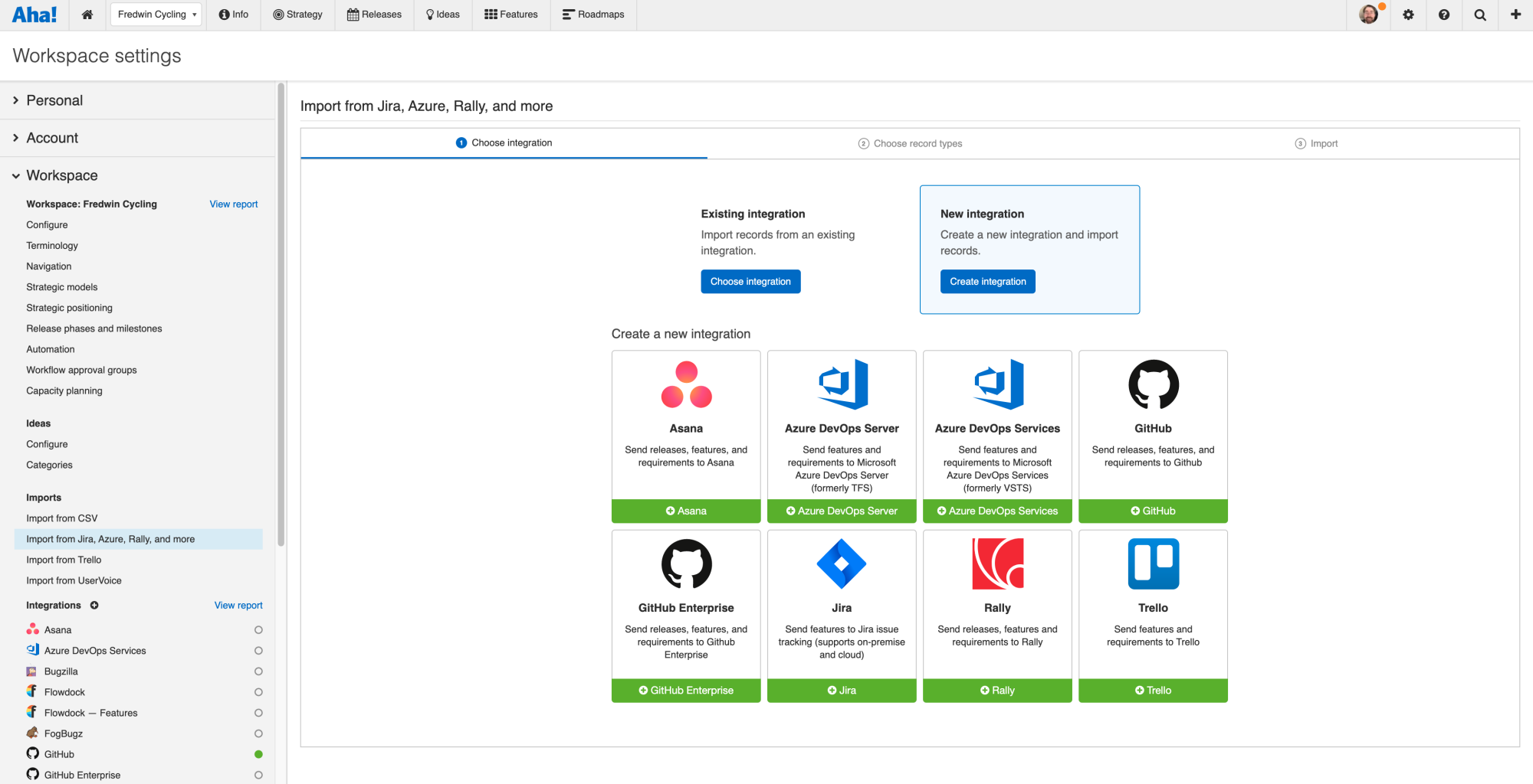 Import existing records from Azure DevOps to quickly build your roadmap.