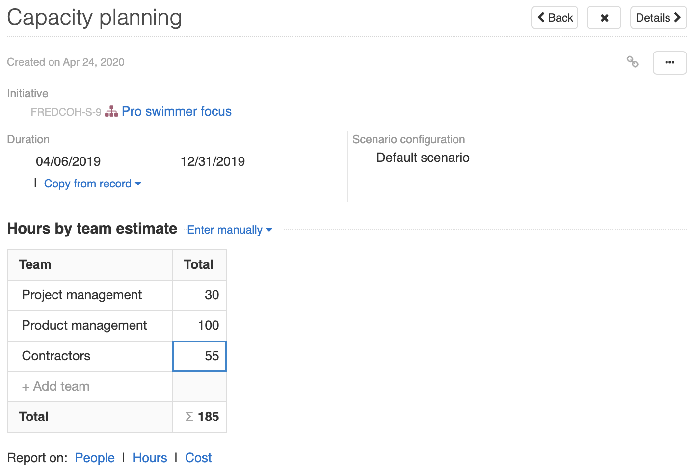 Support - Set advanced estimates (Enterprise+) - inline image