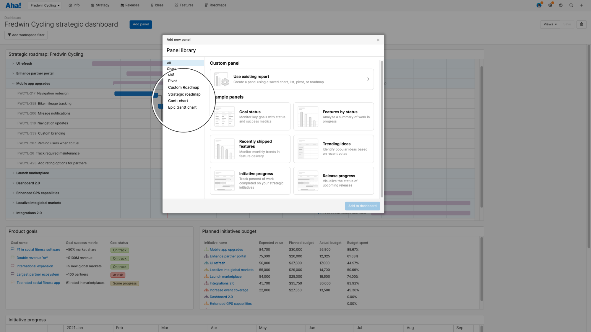 Add panels to dashboards in Aha! Roadmaps