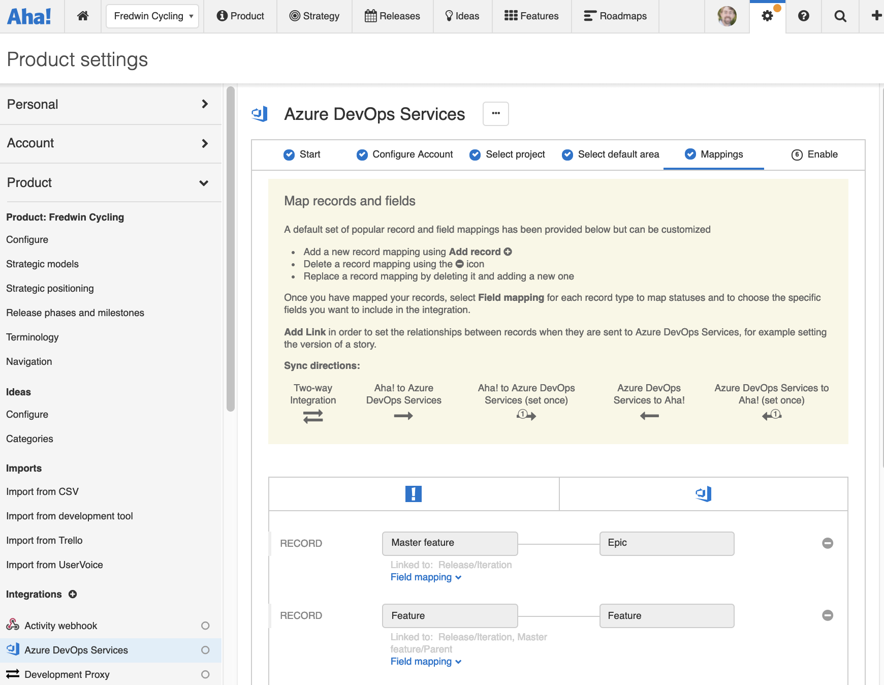 Support - Integrate Aha! with Azure DevOps Services or Azure DevOps Server (integrations 2.0) - inline image