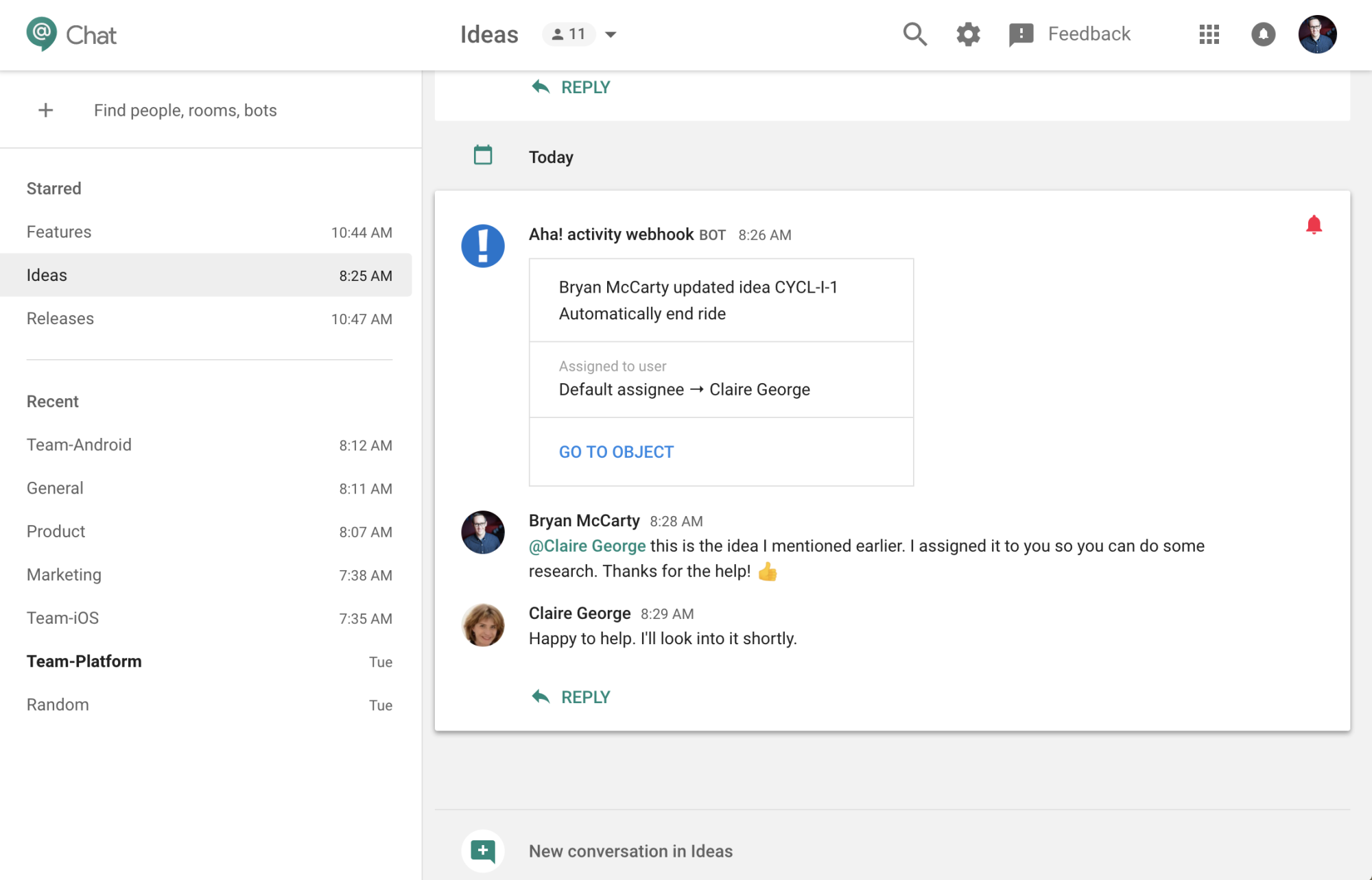 Integration Aha! with Google Chat