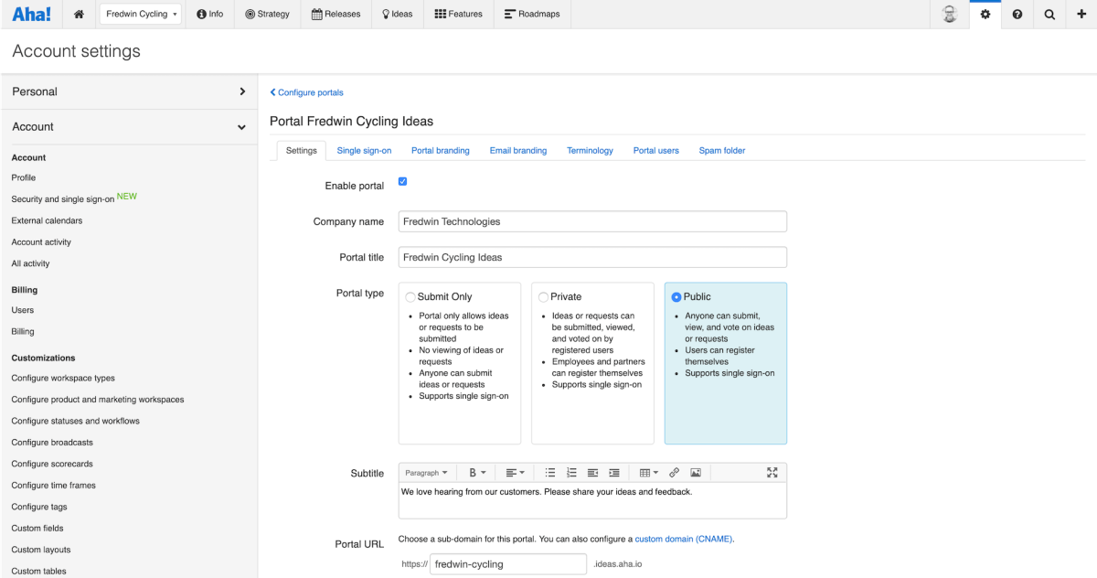 Configuring ideas portal