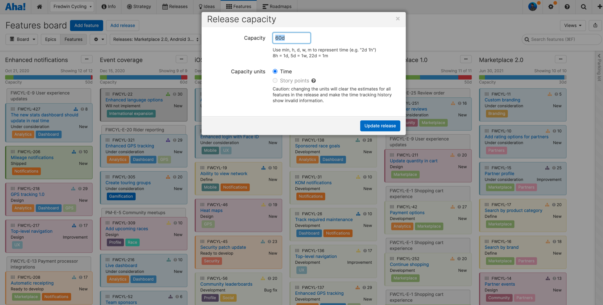 The release capacity modal in front of the features board